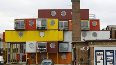 General view of Trinity Buoy Wharf, a community made from old shipping containers, in Canning Town,