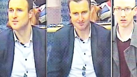 Police want to speak to these two men in connection with the Ilford station assault. Picture: Britis