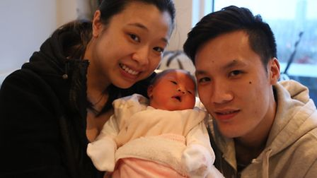 Jennifer Chan and her partner Ian Li with their daughter, Alexa, who was born on New Year's day