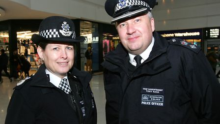 Police action day at the Stratford Mall. Assistant Commissioner Helen King. with Chief Superintende