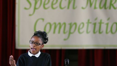 School pupils during a speech making competition at the town hall