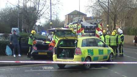 The accident on Bradley Stone Road (picture: David Potts)