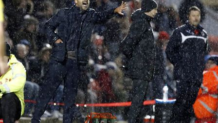O's boss Fabio Liverani issues instructions during their Boxing Day win over Crawley Town. Pic: Simo