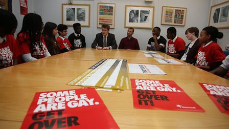 Tristram Hunt talks to pupils about lesbian, gay and bisexual(LGB) bullying