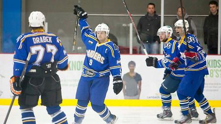 Ricky Deacon - or is it Patrick Kane? - celebrates his wonder goal for London Raiders at Streatham w