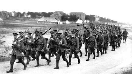 Undated file photo of British infantrymen marching towards the front lines in the River Somme valley