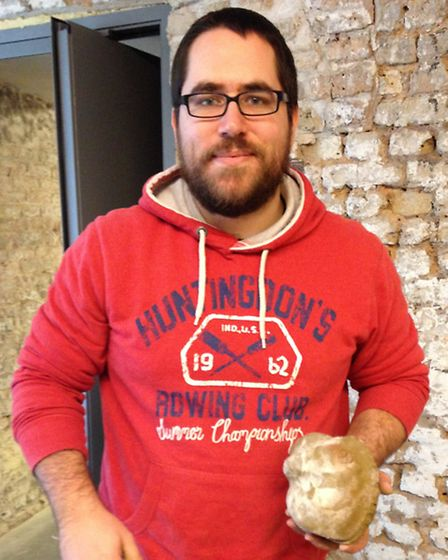 Teacher Sean Webber, from Oaks Park High School, in Newbury Park, with his clay figure. Picture: Eri