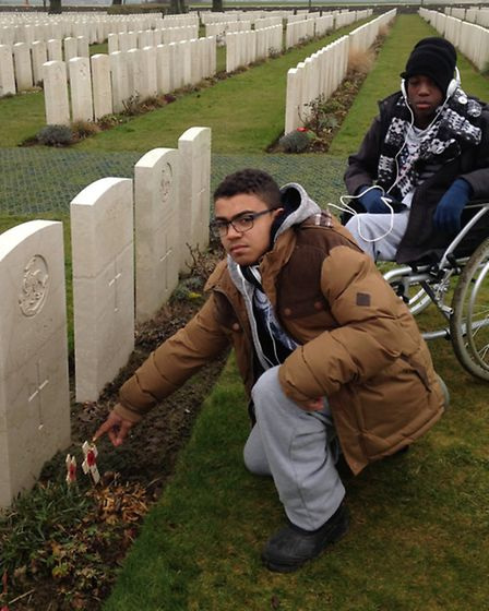 Jhonattan Goncalves, 15, and Zac Opere-Onguende, 16, at Tyne Cot. Picture: Erica Spurrier/Equity