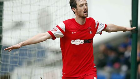 O's David Mooney celebrates one of his goals at Chesterfield. Pic: Simon O'Connor