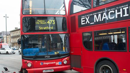 The buses collided in Stratford (picture: Michael Tubi)