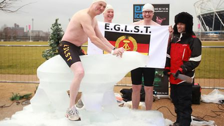Members of the East German Ladies Swimming Team brave the cold at the Polar Plunge