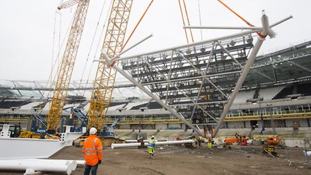 Work has begun on 14 brand new floodlights to the former Olympic Stadium at the Queen Elizabeth Olym