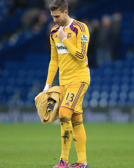 West Ham United goalkeeper Adrian San Miguel looks dejected at the end of the game during the FA Cup