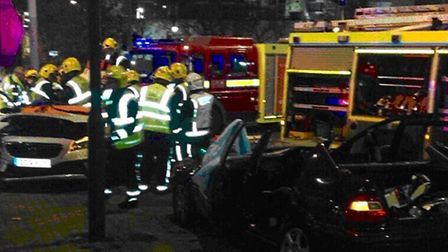 Two cars collide on Canning Town roundabout