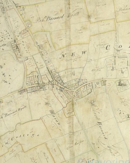 A map of Hornchurch from 1812 which shows the land owned by Richard Barnard Wyatt and Langtons (far