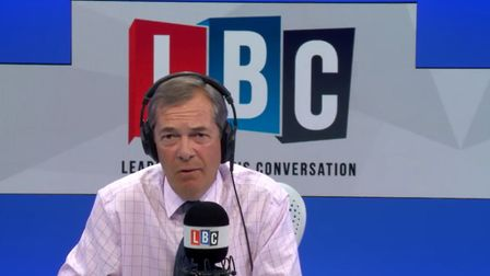 Nigel Farage discusses Brexit and the Article 50 process on his LBC programme. Image: LBC/Global.