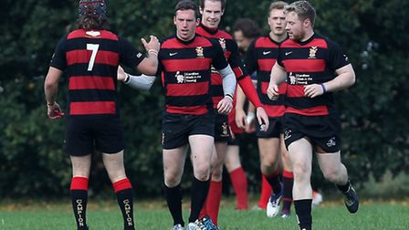 Campion players celebrate a try (pic: Gavin Ellis/TGSPHOTO)