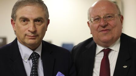 Lee Scott and Mike Gapes at the anti-Semitism event at the Ilford Federation Synagogue, Gants Hill.