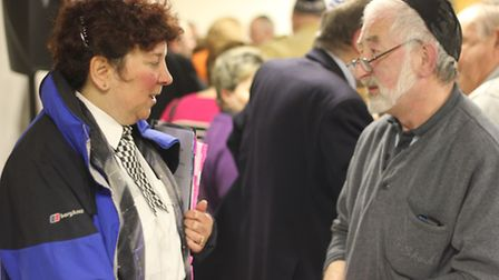 Borough commander Sue Williams (left) at the anti-Semitism event at the Ilford Federation Synagogue,