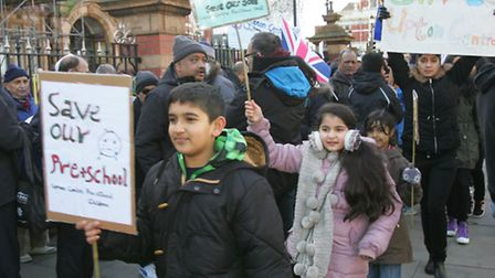 Protesters marched against the centre's closure outside East Ham Town Hall last month