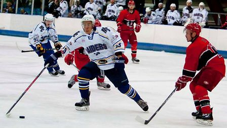 Liam Chong goes on the attack against Streatham, with Jacob Ranson in support (pic: John Scott)