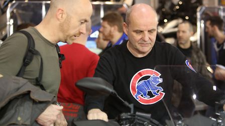 Chris Hoskins at the MCN motorbike show at Excel in Newham