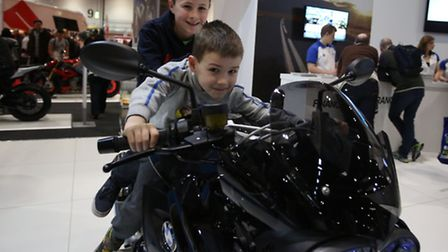 Ashley Miller, 10 and Rowan Miller, six at the MCN motorbike show at Excel in Newham