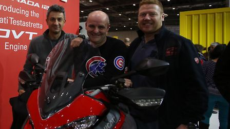 Paul Casha, Chris Hoskins, and Peter Green at MCN motorbike show at Excel in Newham