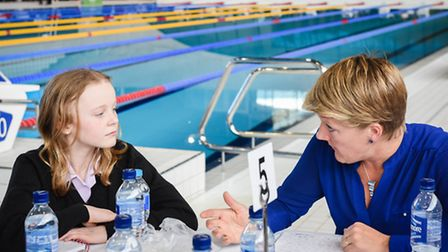 Clare Balding chats to a pupil