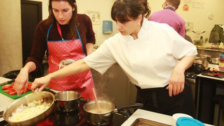 Helen Holman with chef and East Village resident Gianne Fanti.