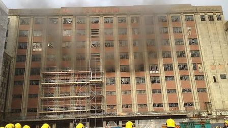 The fire at Millennium Mills (picture: London Ambulance Service)