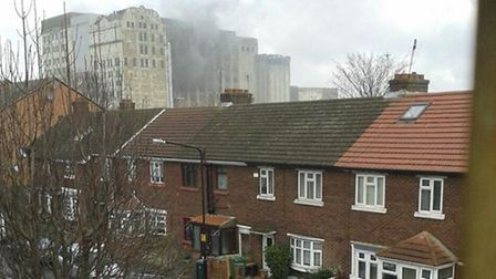 The fire at Millenium Mills, as seen from Mill Road (picture: Melinda Ashby)