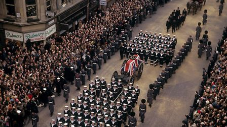 Churchill's funeral cortege on The Strand, Saturday, January 30, 1965. Picture: PA