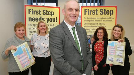Cllr Clarence Barrett with First Step staff Jill Webb, Claire Kelly, Janet Hutchinson and Michelle M