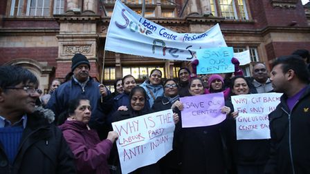 A protest outside the Town Hall in East Ham about the closure of the Upton Centre