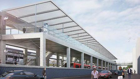 An artist's impression of how the Custom House Crossrail station will look