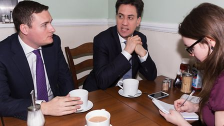 Labour leader Ed Miliband and Wes Streeting are quizzed by Recorder reporter Laura Burnip at Nesse's