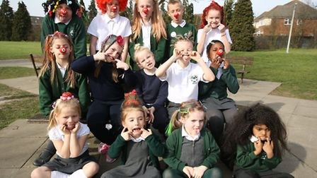 Pupils at Scotts Primary School in Hornchurch wore their hair funny for money for Red nose day