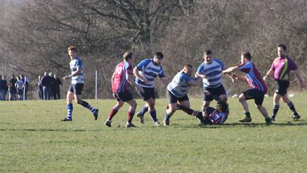 The Wanstead front row barge their way upfield (pic: Martin Curry/Wanstead RFC)