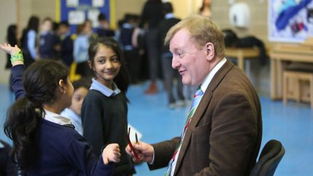 The ex-Lib Dem leader Charles Kennedy visited Winston Way Primary School in Ilford to speak to the c