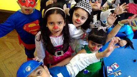 Hartley Primary School children join in the Red Nose Day fun