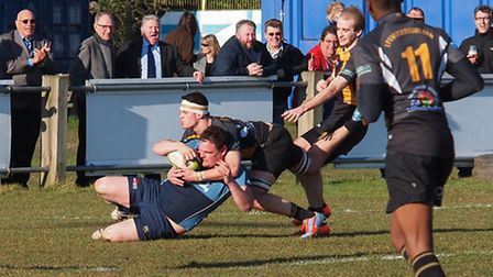John Robinson scoring against Ipswich (pic:Martin Pearl/Eton Manor RFC)