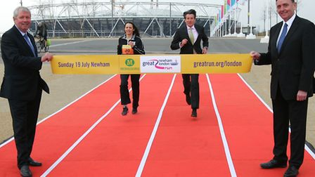 Brendan Foster, Jo Pavey, Lord Coe and Sir Robin Wales launch the Great Newham London Run at Queen E