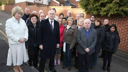 Iain Duncan Smith with unhappy residents in South Woodford who are campaigning against planning perm