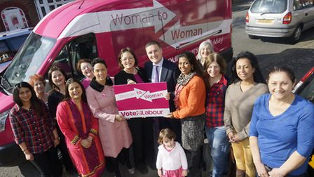 Labour's infamous Pink Bus rolls into Ilford North. Tag: Wes Streeting