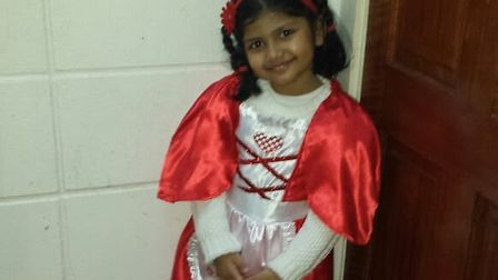 Hadia Harif, 4, from Portway Primary School as Little Red Riding Hood