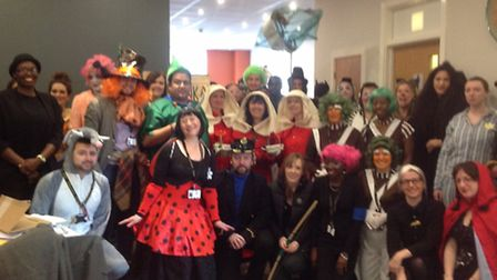 Staff at St Bonaventure's in their costumes