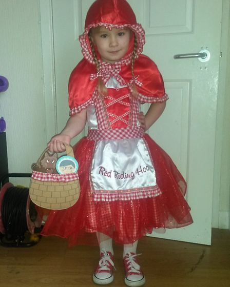 Carmel-Louise Moore, 4, as Little Red Riding Hood