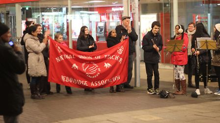Redbridge Music Service playing music in protest of cuts. Picture: Ajay Nair
