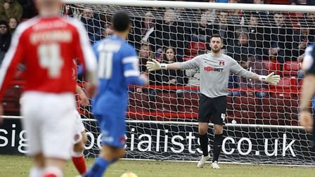 O's keeper Alex Cisak keeps his eye on the ball at Walsall (pic: Simon O'Connor)